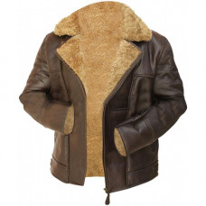 Aviator Pilot Flying Fur Shearling B3 Raf Brown Jacket