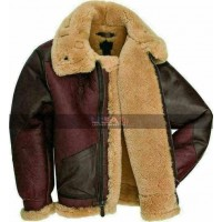 Aviator Cockpit RAF Fur Shearling B3 Maroon Leather Jacket
