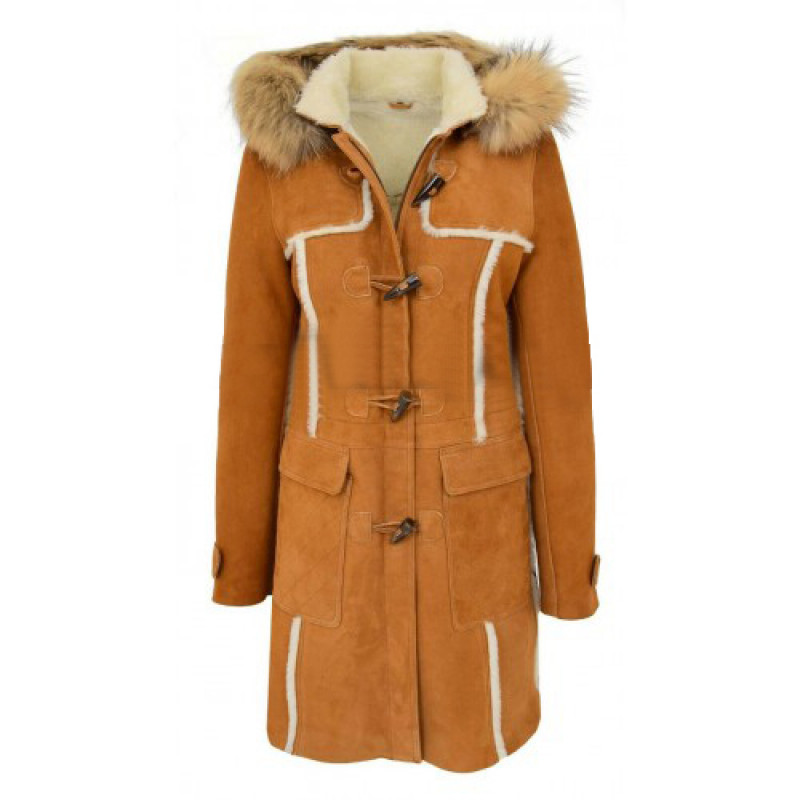 Women Sheepskin Shearling Cognac Hooded Duffle Coat