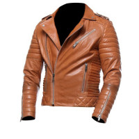 Mens Cafe Racer Quilted Moto Style Tan Biker Leather Jacket
