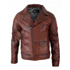 Brando Vintage Biker Café Racer Washed Distressed Brown Leather Jacket