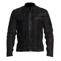 Brando Retro Biker Cafe Racer Black Distressed Leather Jacket
