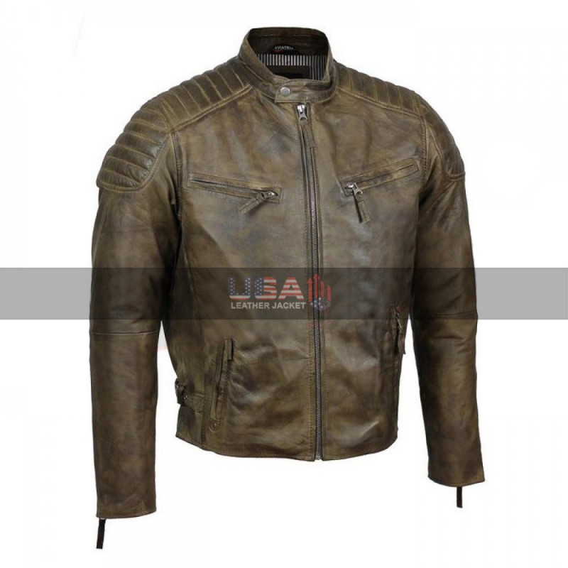 Men's Antique Urban Washed Brown Motorcycle Jacket