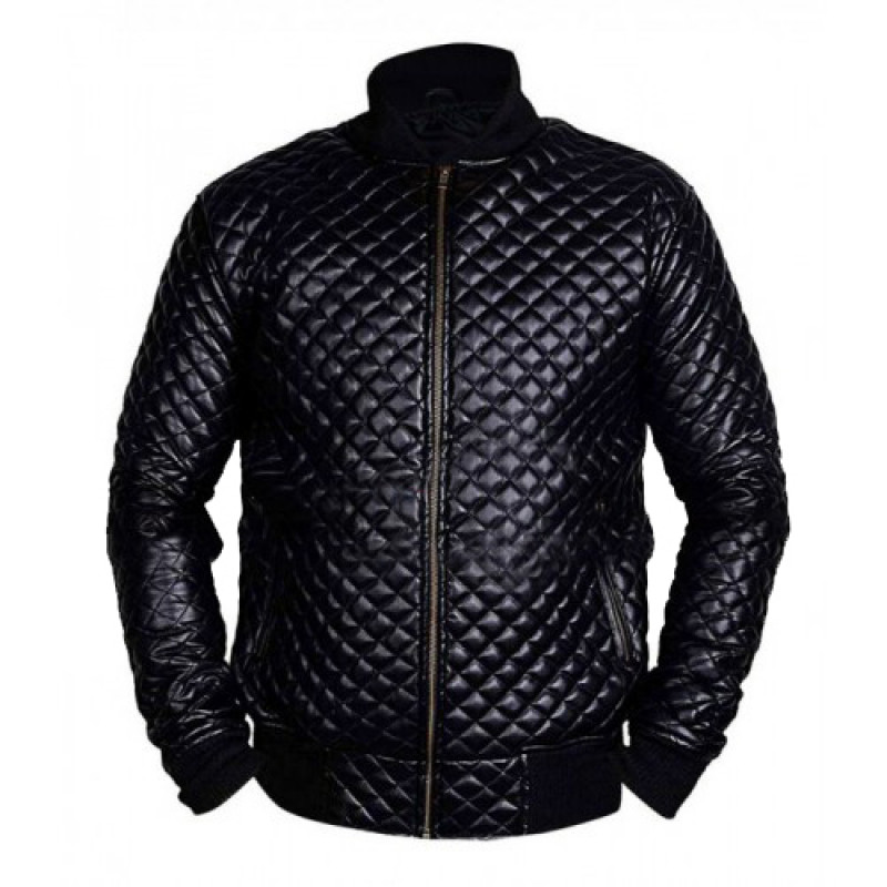 Men's Diamond Quilted Black Motorcycle Bomber Jacket