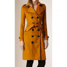 Anne Hathaway Yellow Trench Coat For Women