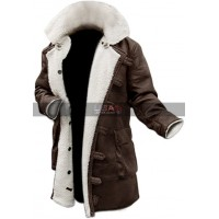 Batman Dark Knight Rises Bane Antique Brown Fur Leather Coat