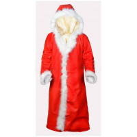 Father Christmas Costume Santa Claus Red Coat With Hood