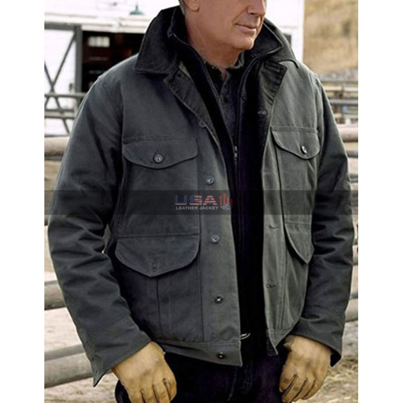 Yellowstone Kevin Costner Grey Cotton Jacket