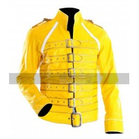 Freddie Mercury Military Concert Yellow Leather Jacket
