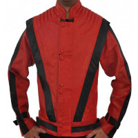 Michael Jackson Thriller Red Costume Leather Jacket