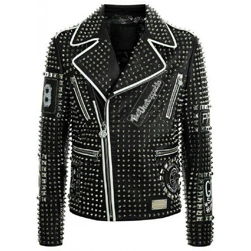 Men's Brando Studded Multi Patches Punk Black Leather Jacket