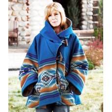 Yellowstone Beth Dutton Blue Hooded Poncho Style Coat