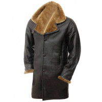 Sheepskin Shearling Fur Style Collar Winter Genuine Leather Trench Coat For Men