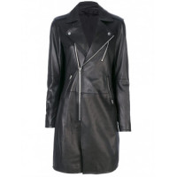 Womens Slim Fit Mid Length Lapel Collar Black Leather Trench Coat