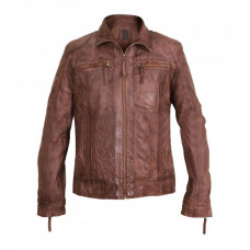 Cafe Racer Men's Vintage Biker Shirt Collar Brown Leather Jacket