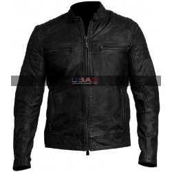 Vintage Biker Café Racer Distressed Black Leather Jacket