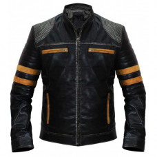 Cafe Racer Distressed Black Biker Leather Jacket