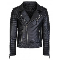 Mens Brando Biker Style Quilted Black Motorcycle Leather Jacket