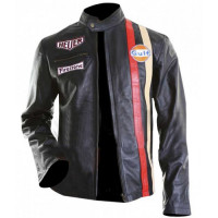 Steve McQueen Gulf Le Mans Motorcycle Black Leather Jacket