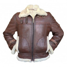 B3 RAF Fur Shearling Aviator Flying Pilot Bomber Brown Sheepskin Leather Jacket