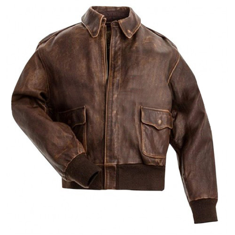 Men's USAAF A-2 Air Force Flight Aviator Brown Distressed Leather Jacket