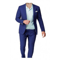 Men's Checked 2 Piece Blue Suit