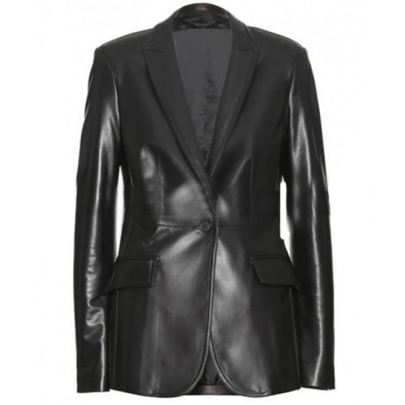 The Winter Soldier Natasha Romanoff Black Leather Blazer