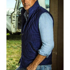 Yellowstone John Dutton Satin Blue Quilted Vest