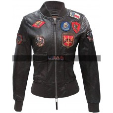 TOP Gun Flight Multi Patches Dark Brown Jacket For Women
