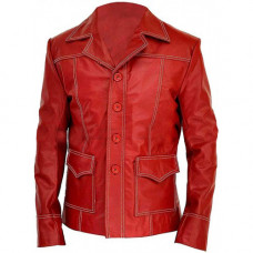 Fight Club Brad Pitt Red Leather Jacket
