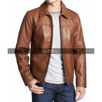 Vintage Biker Leather Brown Jacket For Men's