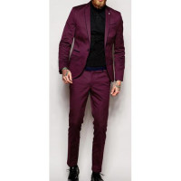 Men Skinny Fit With Stretch Contrast Piping Suit