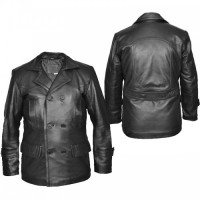 Doctor Who Olive Naval Pea German Military Black Leather Coat