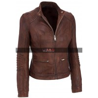 Women Bikers Café Racer Vintage Brown Motorcycle Leather Jacket