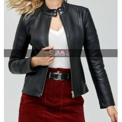 Slim Fit Biker Women Black Leather Jacket