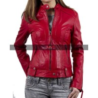 Women Slim fit Red Biker Jacket