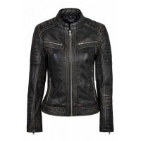 Vintage Biker Women Distressed Black Leather Jacket