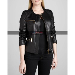 Women Motorcycle Black Genuine Leather Jacket