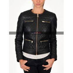 Women Slim Fit Black Quilted Biker Jacket