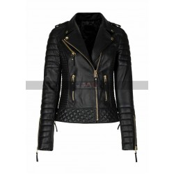 Women Quilted Black Biker Leather Jacket
