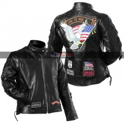 Women Live To Ride Black Leather Motorcycle Jacket