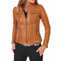 Women Motorcycle Tan Leather Jacket