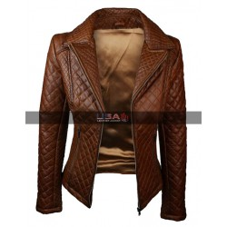 Women's Quilted Brown Leather Jackets Biker Outfits