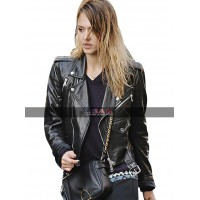 Outerwear Jessica Alba Black Leather Jacket