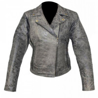 Grey Motorcycle Distressed Leather Jacket For Womens