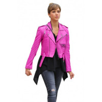 Jessica Alba Hot Pink Brando Belted Biker Leather Jacket
