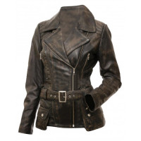 Womens Victoria Quilted Shoulders Belted Motorcycle Leather Jacket