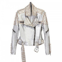 Women Punk With Spikes Studs Faux Leather Jacket