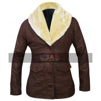 Yellowstone TV Series Costumes Kelly Reilly Fur Collar Brown Wool Coat
