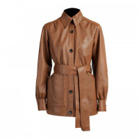 Women's Formal Short Body Brown Leather Trench Coat